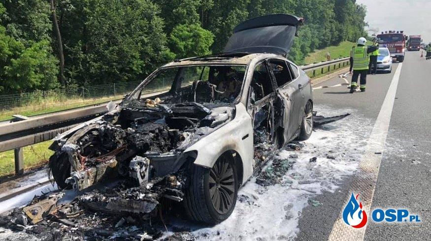 Pożar samochodu utostrada A4 OSP Ochotnicza Straż Pożarna