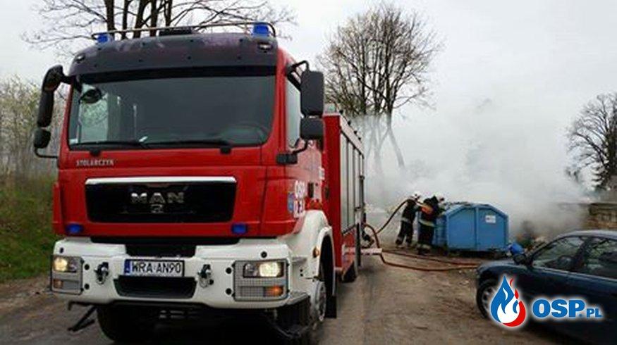 Pożar kontenera na śmieci - cmentarz - ul. Batalionów Chłopskich OSP Ochotnicza Straż Pożarna