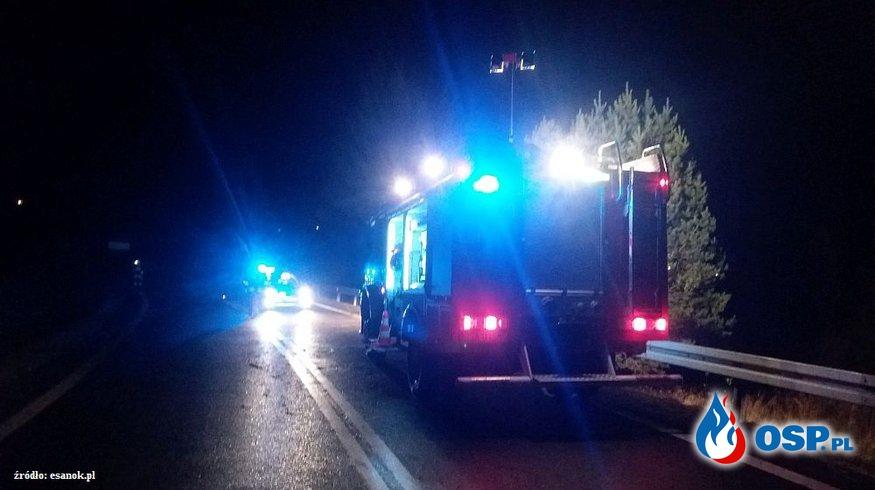 Samochód osoby wypadł z drogi. Dwie osoby trafiły do szpitala. OSP Ochotnicza Straż Pożarna