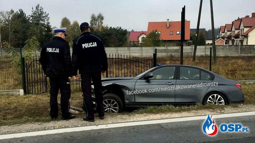 Nieoznakowany radiowóz BMW rozbity! Policjanci mieli wypadek OSP Ochotnicza Straż Pożarna