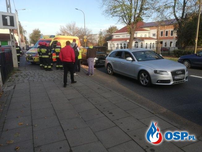 Kolizja dwóch pojazdów - Najechanie na tył OSP Ochotnicza Straż Pożarna
