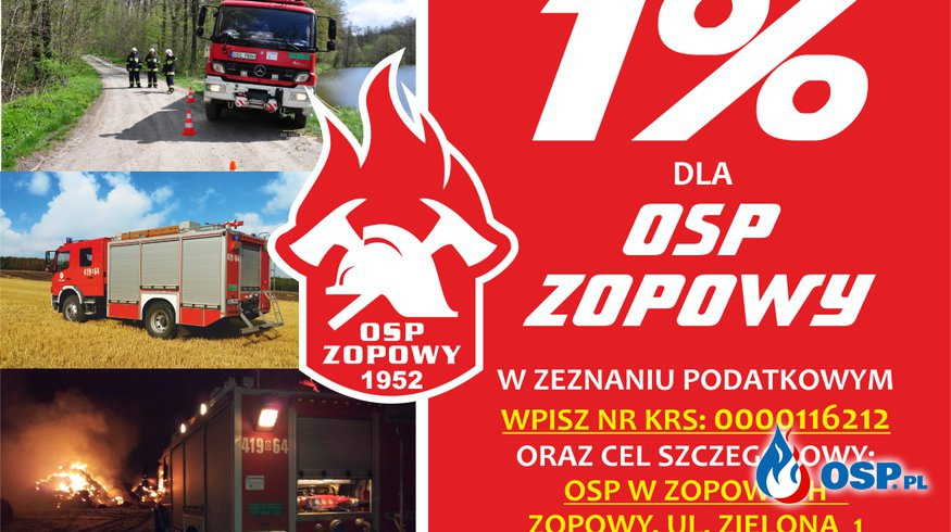 1% podatku 2021 !!! Od dzisiaj możesz przekazać go na rzecz naszej jednostki! OSP Ochotnicza Straż Pożarna