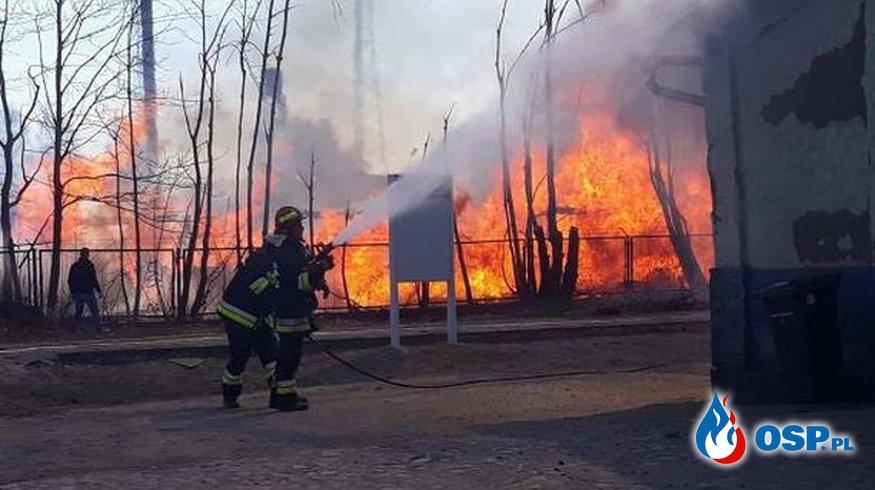 Ogromny pożar tartaku. Gasi go ponad 20 zastępów straży pożarnej i samolot. OSP Ochotnicza Straż Pożarna