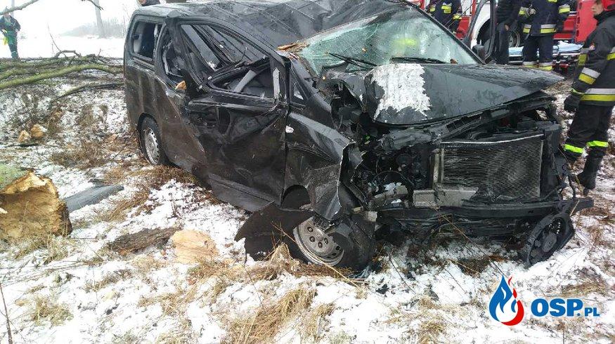 Wypadek samochodowy DW-102  OSP Ochotnicza Straż Pożarna