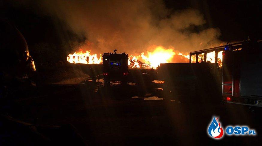 Wielki pożar bel słomy OSP Ochotnicza Straż Pożarna