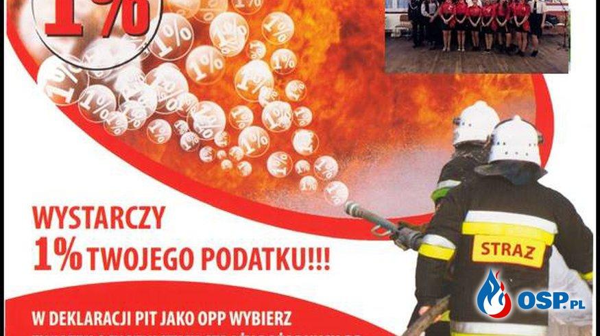 Prosba o przekazanie 1 % podatku dochodowego OSP Ochotnicza Straż Pożarna