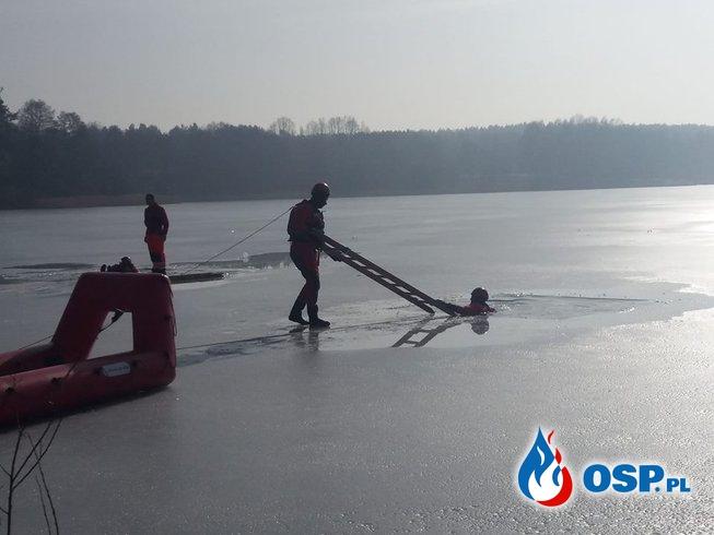 Ćwiczenia z zakresu Ratownictwa Lodowego - zalew Cedzyna OSP Ochotnicza Straż Pożarna