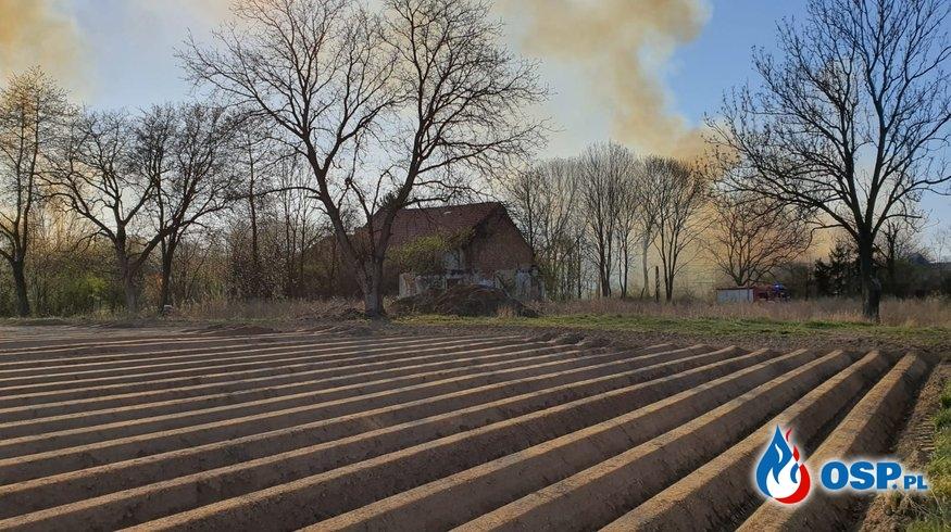 Pożar budynków wraz ze stertą słomy. 30-sto godzinna akcja OSP Ochotnicza Straż Pożarna