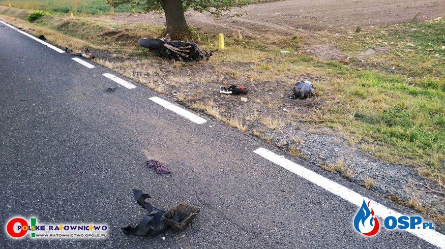 25-letni motocyklista zginął w wypadku pomiędzy Opolem i Kluczborkiem OSP Ochotnicza Straż Pożarna
