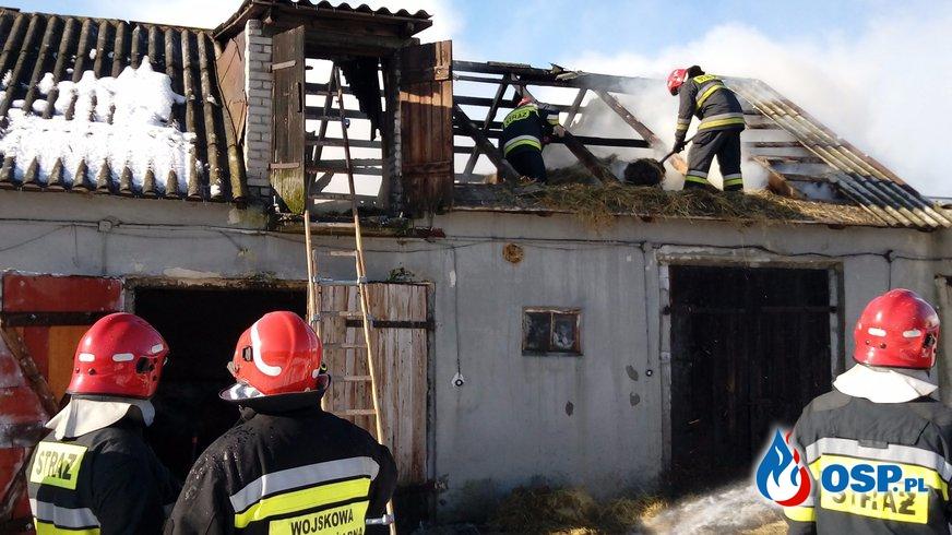Miękoszyn: Pożar budynków gospodarczych OSP Ochotnicza Straż Pożarna