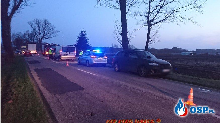 Potracenie rowerzystki przez samochód osobowy OSP Ochotnicza Straż Pożarna