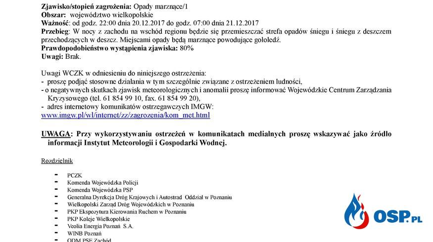 Komunikat ostrzegawczy - marznące opady OSP Ochotnicza Straż Pożarna