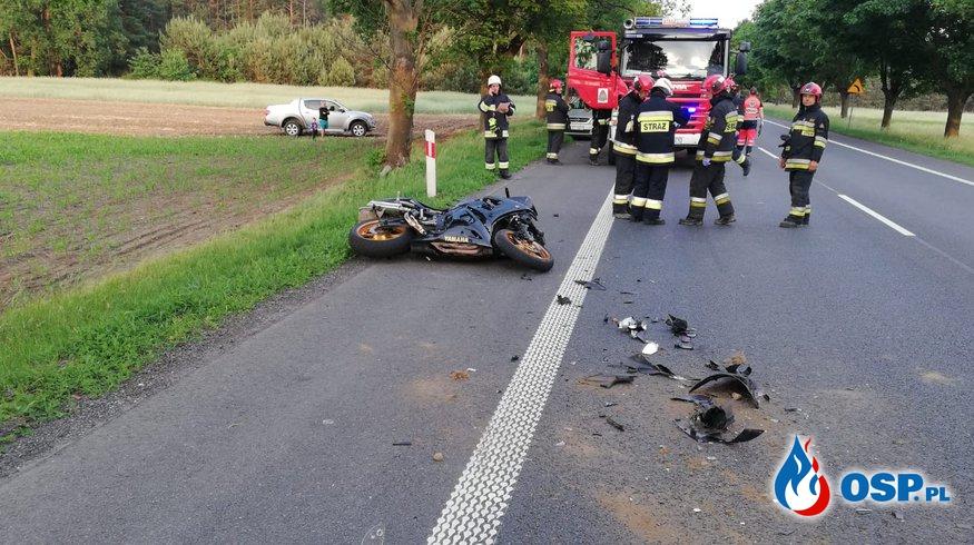 Poważny wypadek z udziałem motocykla pod Izbickiem OSP Ochotnicza Straż Pożarna
