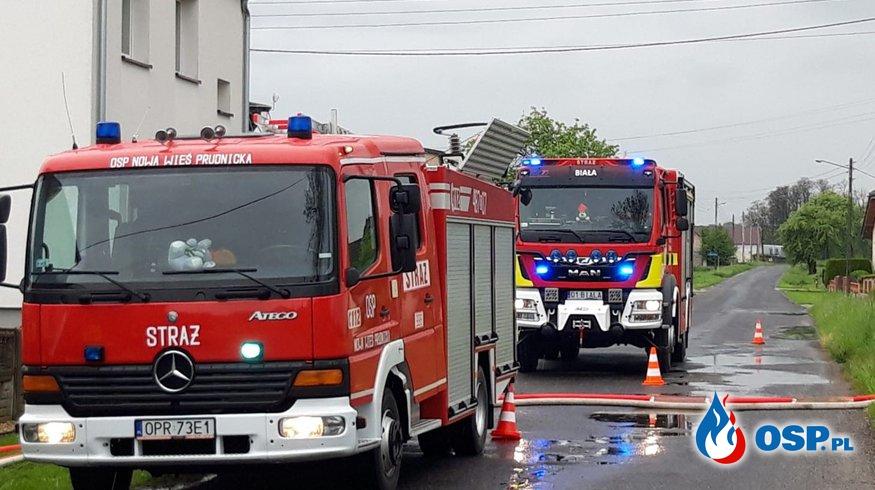 Wypompowywanie wody zalewającej budynek mieszkalny w Czartowicach OSP Ochotnicza Straż Pożarna