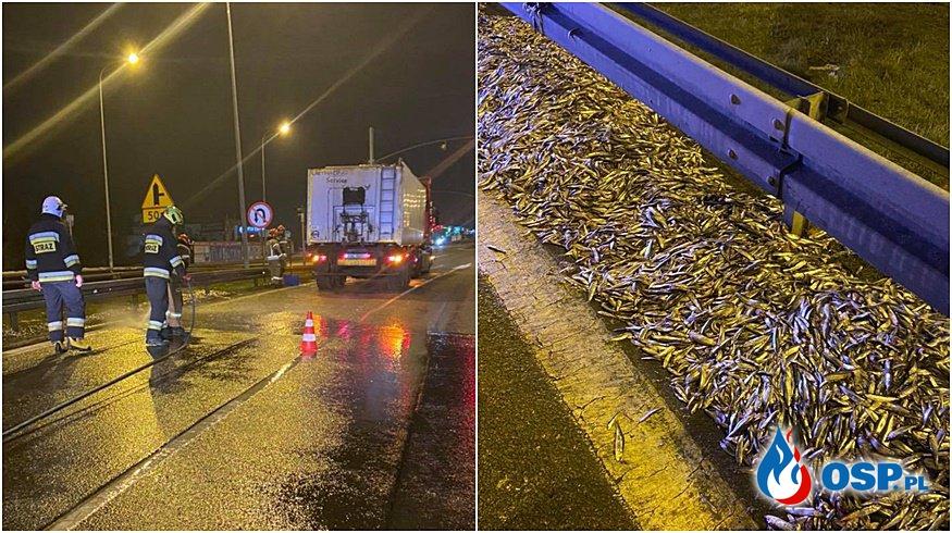 2 tony ryby wysypały się z ciężarówki na drogę. Nietypowa akcja strażaków z OSP Wejherowo. OSP Ochotnicza Straż Pożarna