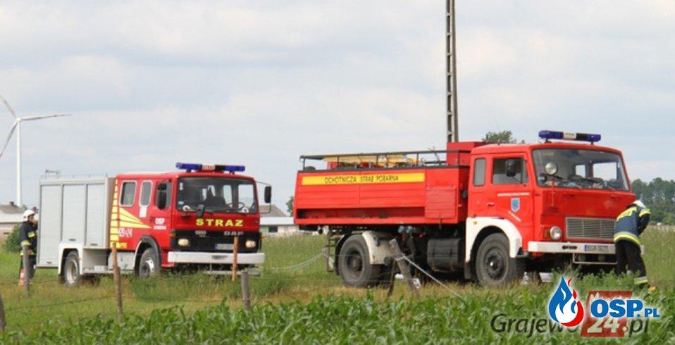Wypadek i pożar OSP Ochotnicza Straż Pożarna