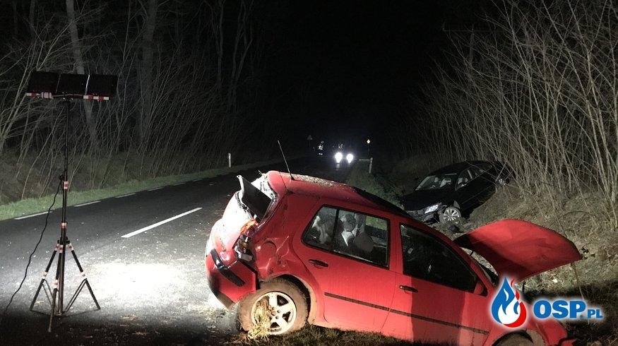 21/2020 Wypadek na DW124 - dwa auta w rowie OSP Ochotnicza Straż Pożarna