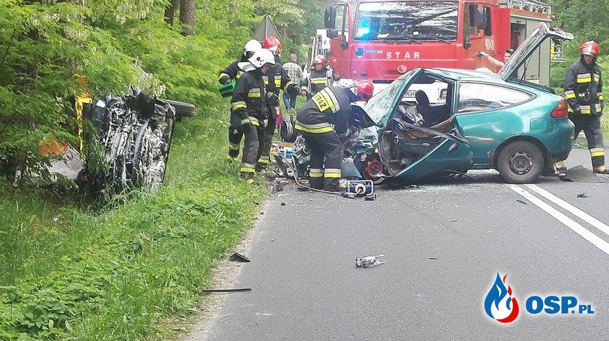 23.05 Wypadek i pożar ściółki w lesie OSP Ochotnicza Straż Pożarna