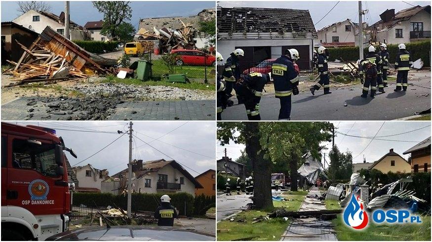 Trąba powietrzna nad Kaniowem uszkodziła 23 budynki. Na miejscu działa 130 strażaków OSP i PSP. OSP Ochotnicza Straż Pożarna