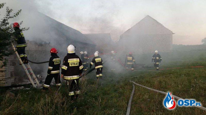 Spłonęły budynki gospodarcze OSP Ochotnicza Straż Pożarna
