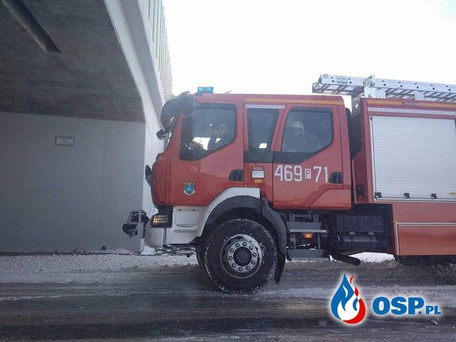 Łabędzie przymarznięte do tafli lodu [16/2018] OSP Ochotnicza Straż Pożarna