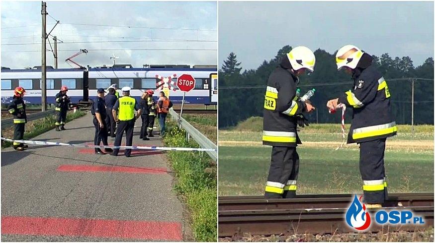 Matka z dwójką dzieci zginęła na przejeździe kolejowym. Tragedia w Walentowie. OSP Ochotnicza Straż Pożarna