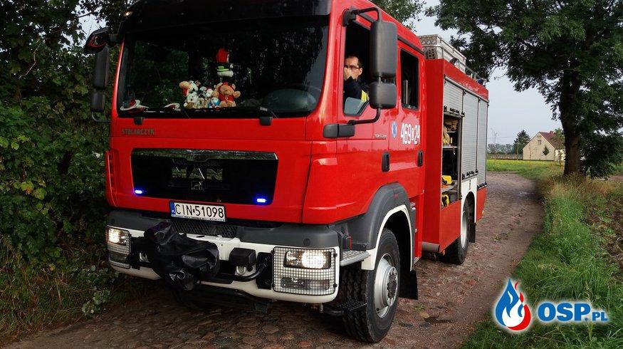 09.08.18 18:55 - DRZEWO POWALONE NA BUDYNEK GOSPODARCZY, SKALMIEROWICE  OSP Ochotnicza Straż Pożarna