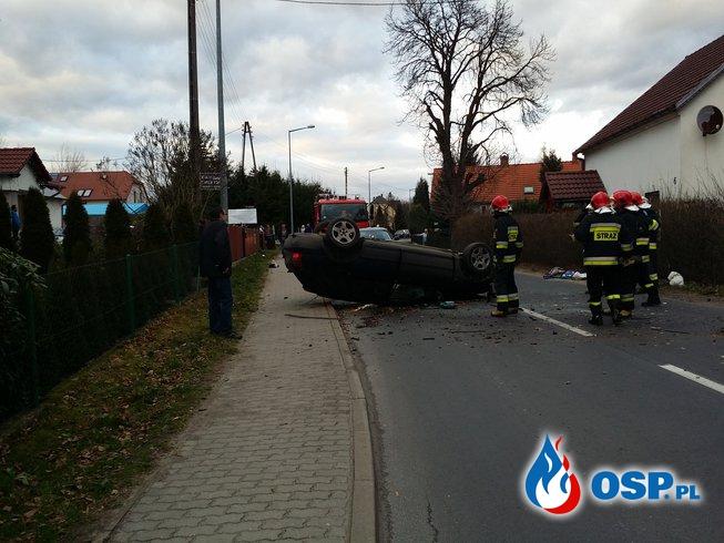 Wypadek Audi dachowanie - 1 osoba ranna OSP Ochotnicza Straż Pożarna