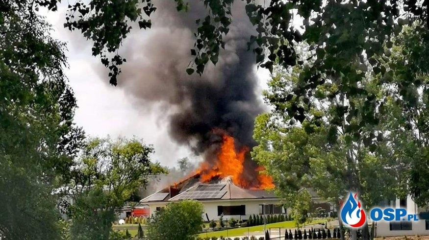 Pożar budynku jednorodzinnego OSP Ochotnicza Straż Pożarna