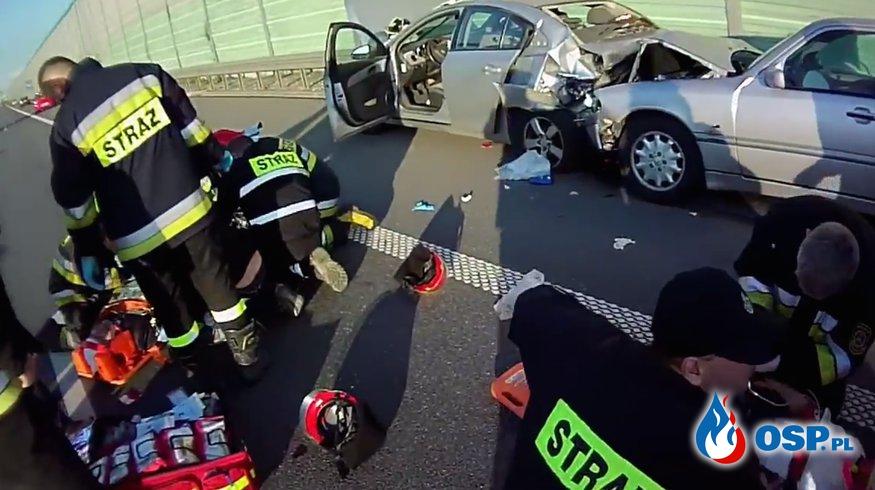 Wypadek na autostradzie A2. Dojazd i akcja oczami strażaka! OSP Ochotnicza Straż Pożarna