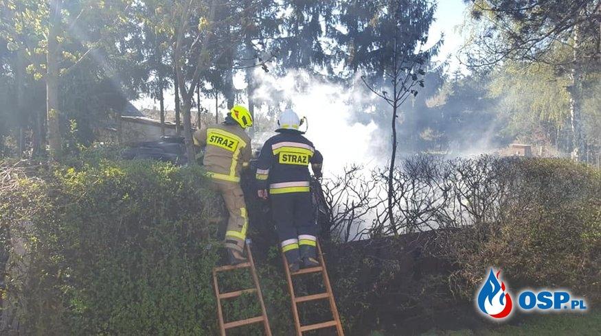 Pożar budynku gospodarczego Starkówiec Piątkowski OSP Ochotnicza Straż Pożarna