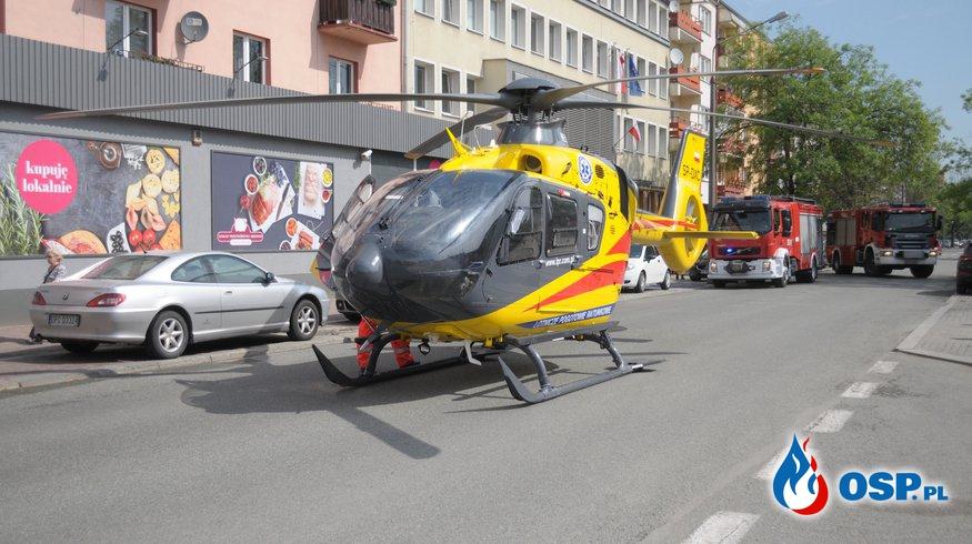Śmigłowiec LPR lądował w samym centrum Opola. Potem nie mógł odlecieć. OSP Ochotnicza Straż Pożarna