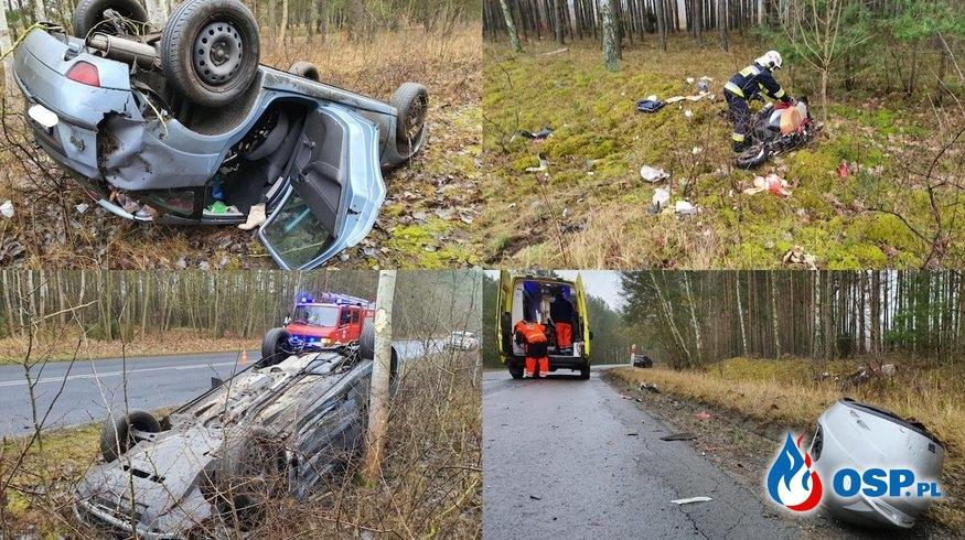 Motocyklista zginął w porannym wypadku w Kujawsko-Pomorskiem OSP Ochotnicza Straż Pożarna