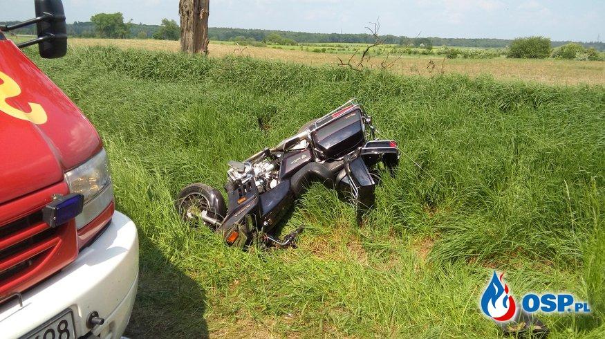 Groźny wypadek z udziałem motocykla Płoszkowo 24-05-2016r. OSP Ochotnicza Straż Pożarna