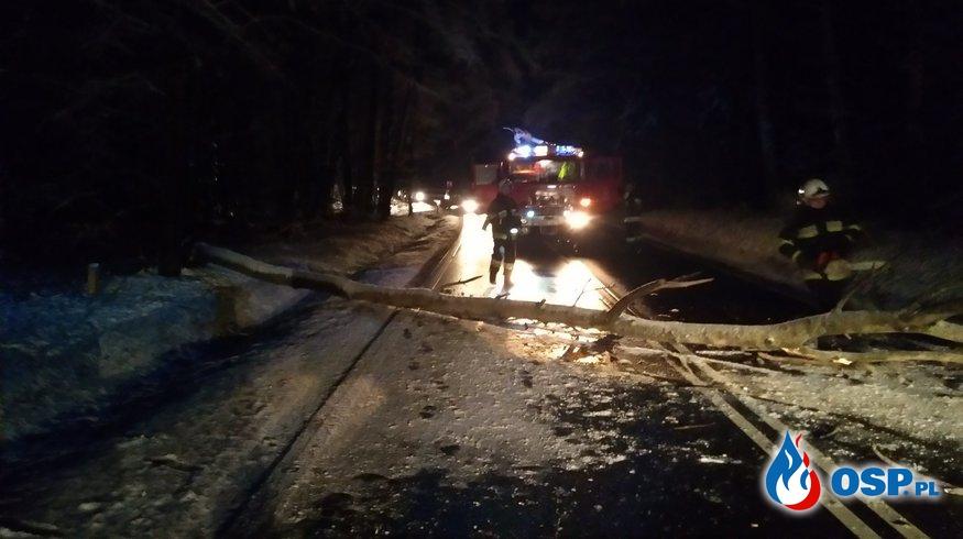 Wigilijny wyjazd - zablokowana droga Dk16 - Tyrowo OSP Ochotnicza Straż Pożarna