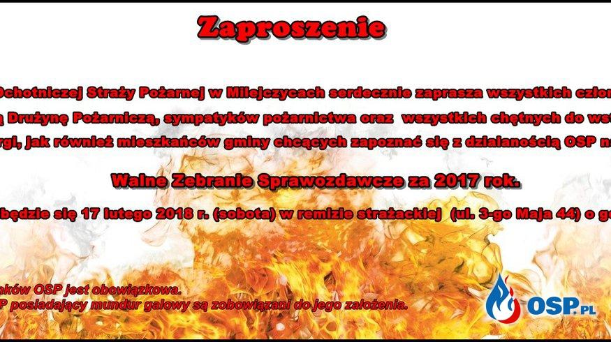 Zaproszenie na zebranie sprawozdawcze OSP OSP Ochotnicza Straż Pożarna