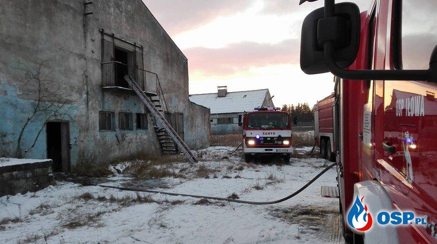 Pożar pustostanu. OSP Ochotnicza Straż Pożarna