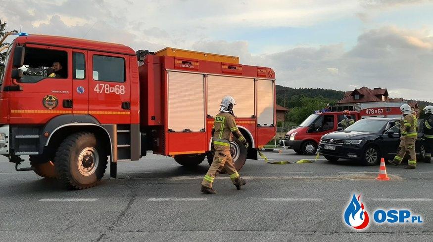 Wypadek dwóch samochodów osobowych na DK7 - 7 czerwca 2020r. OSP Ochotnicza Straż Pożarna